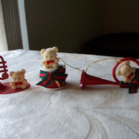 3 Vintage Red Metal Musical Bear Christmas Ornaments