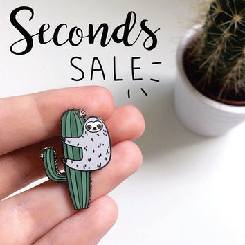 SECONDS SALE - enamel pin - second pins - sloth pin - cactus pin - lapel pin - pins - sloth - 50% OFF - slight imperfections