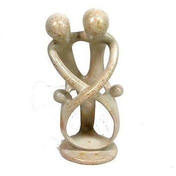 Natural 8-in Soapstone African Art Family Sculpture 2 Parents 2 Children