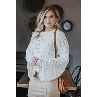 Young Love Chenille Crop Sweater, Cream