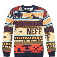 Neff Buffalo Pullover Crew Fleece - Mens Hoodie - Orange -