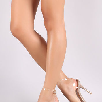 Wild Diva Lounge Clear Pointy Toe Slingback Stiletto Heel | UrbanOG