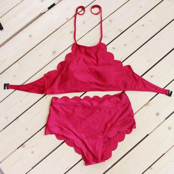 Kalete Fashion scalloped red hanging neck bikini back knot two piece swimsuit bath suit
