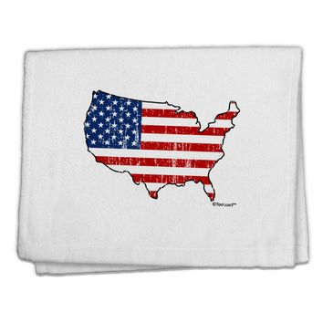 """United States Cutout - American Flag Distressed 11""""x18"""" Dish Fingertip Towel by TooLoud"""