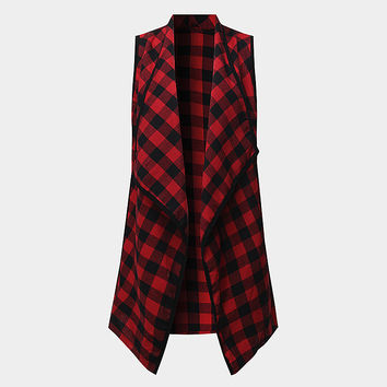 2017 Fashion Women Red Plaid Checks Jacket