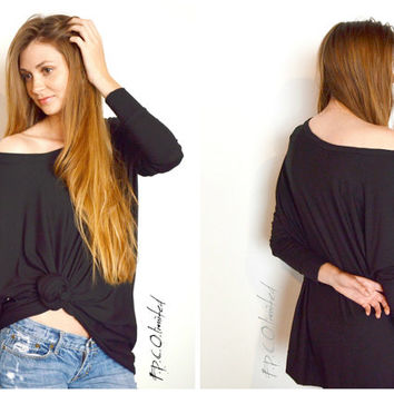 SALE Bohemian Oversized Tee Top Tunic Slouchy Loose Drop Sleeve Black Handmade Boho Apparel Bohemian Clothes