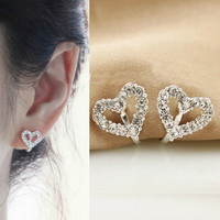 NT0150 Diamond Heart -shaped clip earrings