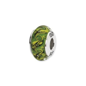 Green/Yellow Swirl Hand-Blown Glass Bead & Sterling Silver Charm, 13mm