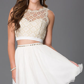 Short Ivory Two Piece Dress with Lace Bodice