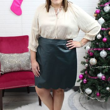 Lexy Green Plus Leather Skirt