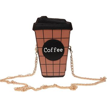 Women Shoulder Bag Coffee Cup Leather Crossbody Satchel
