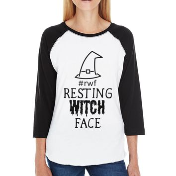 Rwf Resting Witch Face Womens Black And White BaseBall Shirt