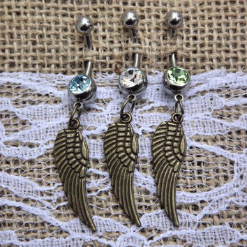 bronze wing belly button ring, country jewelry, wedding gift, wing navel ring, bronze wing jewelry, angel wing jewelry, gifts for girls