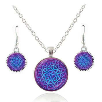 Flower of life pendant necklace metaphysical sacred geometry jewelry mandala earring spiritual jewelry glass pendant yoga choker