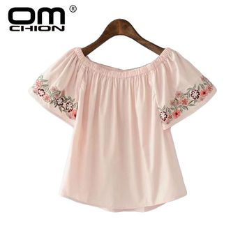 Summer New Women Shirts O Neck Butterfly Sleeve Embroidery Blouses Casual Loose Sweet Blouses