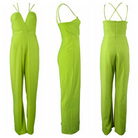 Fluorescent Green Halter Strappy Cut-Out Jumpsuit