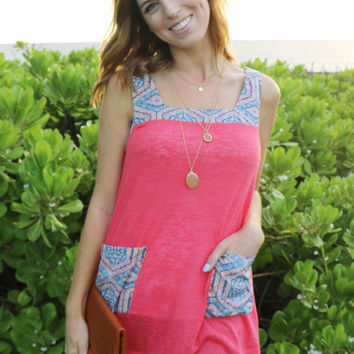Paisley Pocket Oversized Top in Coral