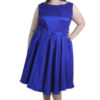 Plus Rockabilly Pinup Deep Blue Satin Cocktail Flare Party Swing Dress