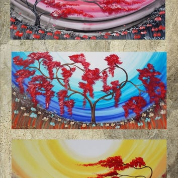 SaKuRa art on your choice windy day sunrise painting contemporary artwork tree in poppies field acrylic on canvas by Ksavera weddings gift