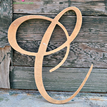 "Fancy Wooden Letter Initial Monogram - 12"" Unfinished Wood - Unpainted - NURSERY - Shabby Chic - Decor"