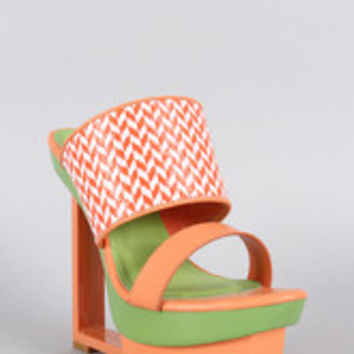 Shoe Republic Two Tone Raffia Cutout Platform Wedge
