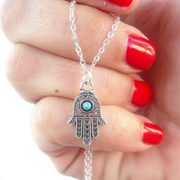 Hamsa necklace, Sterling Silver necklace-  Sterling silver jewelry - Hamsa Charm-   Gift Idea  by Tiny Box
