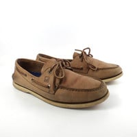 Brown Boat Shoes Vintage 1990s Sperry Topsiders Tan Leather Lace up Boat Shoes men's size 11