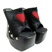 Vintage Cyber Glitter Glam Heart Platforms Wms by Atomicfireball