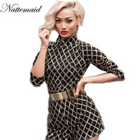 2017  Sequin Playsuit For women Rompers Sexy Party night  Outfits Short sleeve High neck Black  Sequined Long sleeve  Bodycon