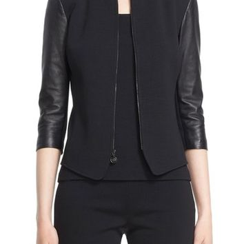 St. John Collection Leather Trim Milano Knit Jacket | Nordstrom
