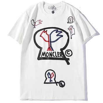 Moncler 2019 new personality graffiti for men and women loose round neck T-shirt white