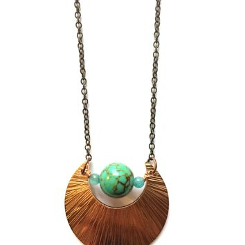 Light Blue Moon Necklace, Copper and Magnesite, Bohemian