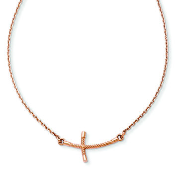 14k Rose Gold Small Sideways Curved Twist Cross Necklace SF2088