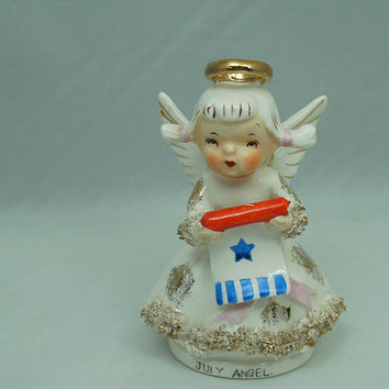 Vintage 80s Lefton 4th of July Angel  Figurine Japan Birthday Month RWB Patriotic Scroll Flag