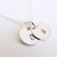 Silver initial necklace, two charm letter necklace, sterling silver, dainty custom gift, personalised necklace, monogram necklace.