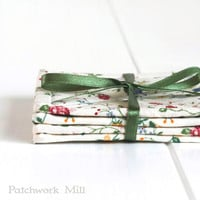 Fabric Coasters - Italian Flowers, Shabby Cottage Chic Rose, 4 Reversible Patchwork Mini Quilts Candle Mat Set, Red Green Blue Yellow Floral
