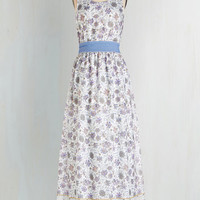 Pastel Long Sleeveless Maxi In the Early Morning Flowers Dress