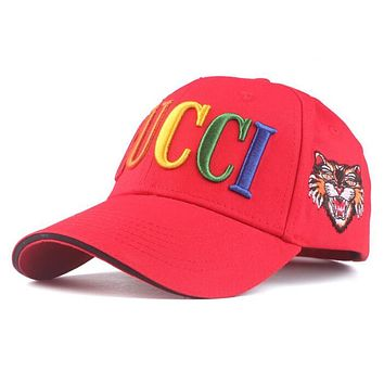 GUCCI Summer Newest Women Men Rainbow Letter Embroidery Sports Sun Hat Baseball Cap Hat Red