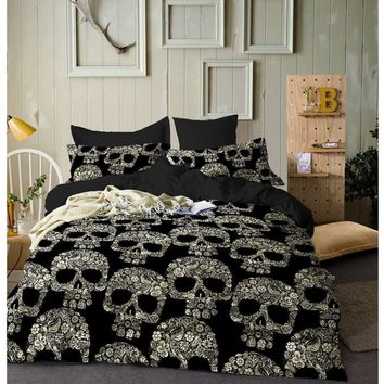 2/3pcs Duvet Cover Bedding Set  Bed Quilt Cover Clothes Pillowcase Kids Bedroom Twin Full Queen King Size Black Skull and skull