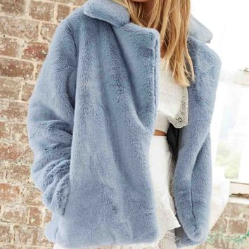 Somedays Lovin - Take It On Soft Faux Fur Jacket - Dusty Blue