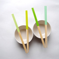 PEA SOUP Collection - Shades of Green - Set of 4 Paint Dipped Blonde Bamboo Chopsticks