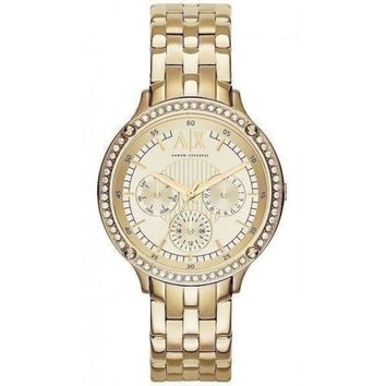NWT Armani Exchange AX Women's Gold Pave Crystal Capistrano Watch  AX5408