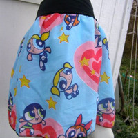 blue POWERPUFF GIRLS Skirt shirt heart Kawaii BLOSSOM Bubbles Buttercup