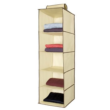 Ziz Home Hanging Clothes Storage Box (5 Shelving Units) Durable Accessory Shelves - Eco- Friendly Closet Cubby Sweater & Handbag Organizer - Keep Your Wardrobe Clean & Tidy. Easy Mount.