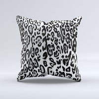 Black and White Snow Leopard Pattern ink-Fuzed Decorative Throw Pillow