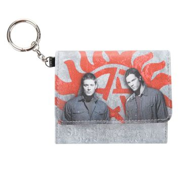 Licensed cool CW Supernatural Sam & Dean Winchester Trifold Men's Wallet Join the Hunt NEW