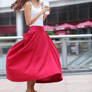 Maxi Skirt Lagenlook Big Pockets Big Sweep Long Skirt in Rose Red Summer Linen Skirt - NC313