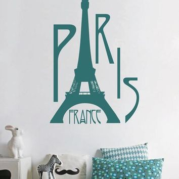 ik1686 Wall Decal Sticker Eiffel Tower Paris France Landmark children's room