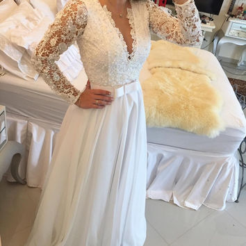 Elegant Long Sleeve A Line Evening Dresses Lace Floor Length Sexy V Neck See Through Back White Custom Made