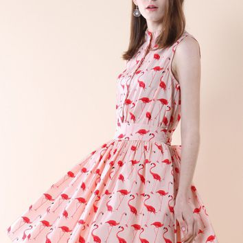 Flamingo Fun Flare Print Dress